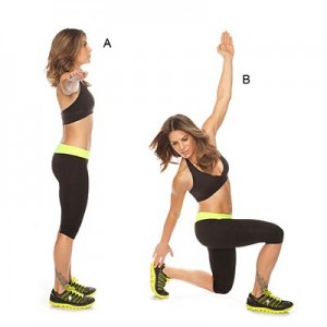 Twist lunge with heel tap